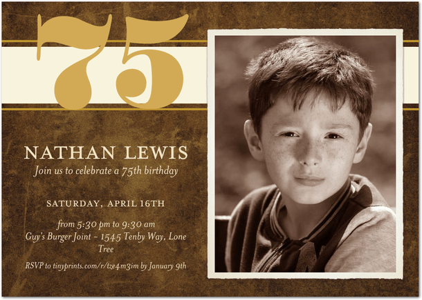 75th Birthday Invitations - Choice of Colors