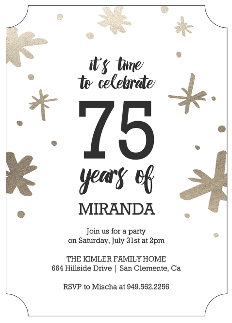 Celebrate 75 Years Personalized Birthday Invitation
