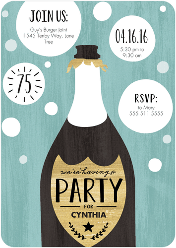 Champagne Themed Personalized Birthday Party Invitations