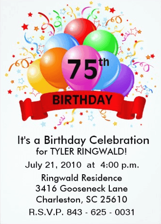 75th Birthday Invites
