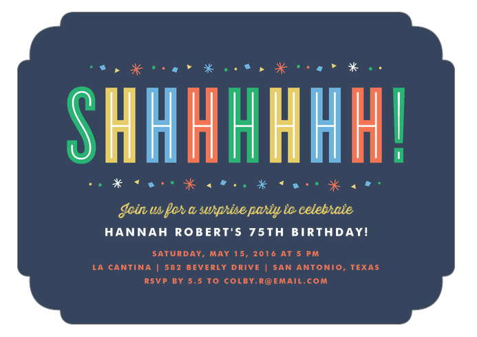 Colorful 75th Birthday Surprise Party Invites: Colorful and fun, these adorable surprise party invitations set the tone for a surprise party that's sure to be a hit!