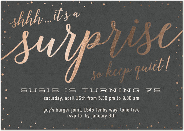elegant surprise birthday party invites
