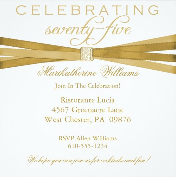 75Th Birthday Invitations – 75th Birthday Party Invitations