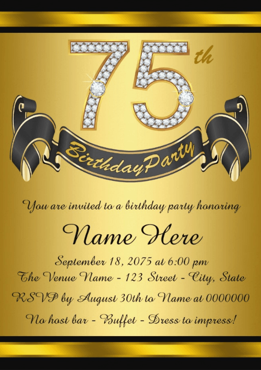 75th birthday invitations 50 gorgeous 75th party invites 75th birthday invitation sample wording gold personalized 75th birthday party invitations stopboris Choice Image