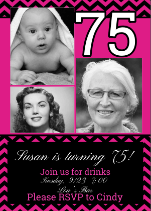 Inexpensive 75th Birthday Photo Invitations