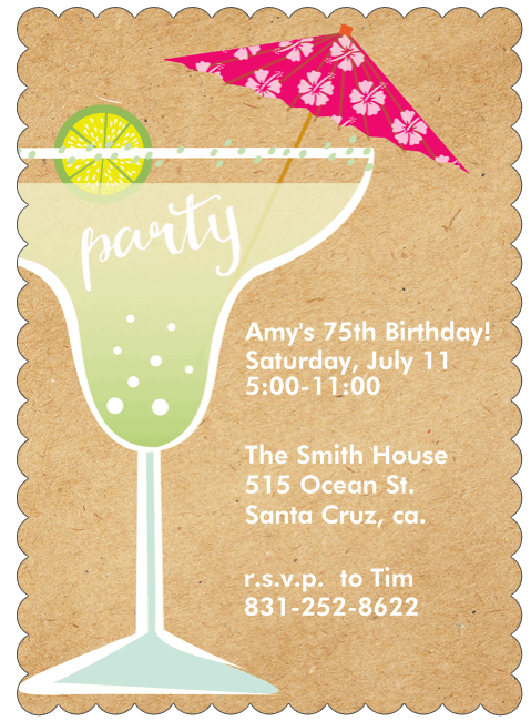 75th Birthday Margarita Party Invitations