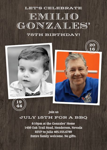 Mens 75th Birthday Photo Invitations
