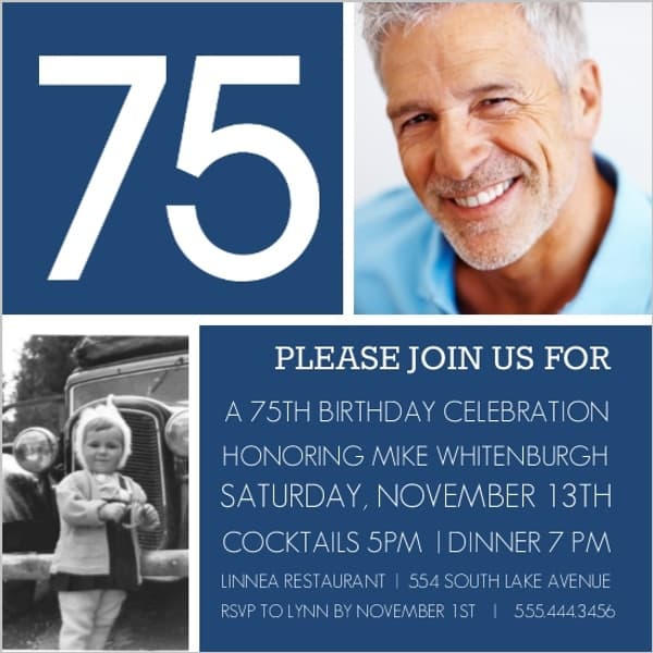 Bold and modern, these striking 75th birthday photo invitations are a stylish way to start your party.