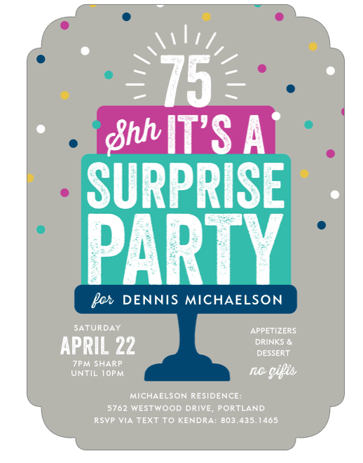 75th Birthday Surprise Invites: Bright and cheery invitations are a fun reminder to your guests to keep the party a secret!
