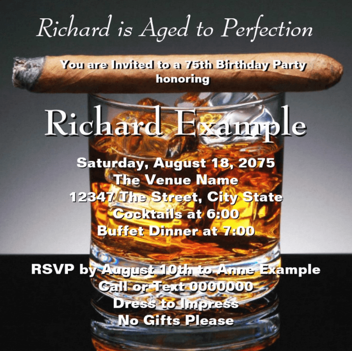 Whiskey Cigars Party Invitations
