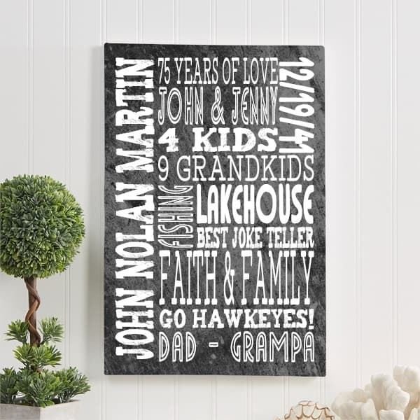 all about dad personalized canvas print