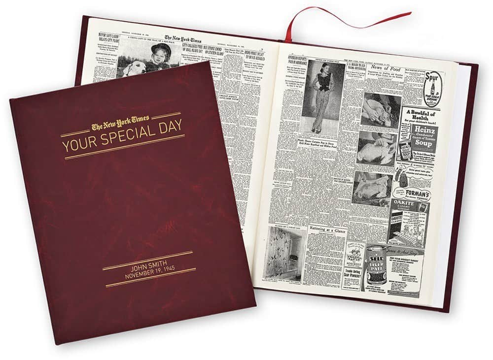 Your Special Day birthday book is a fabulous milestone birthday gift! Personalized book features the New York Times from any day you choose.