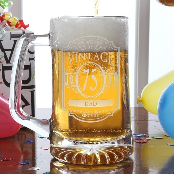 Personalized beer mug is a fabulous gift for any man who likes beer! Add his age and name to this striking personalized mug to create a unique birthday present for Dad, Grandpa or another favorite senior man.