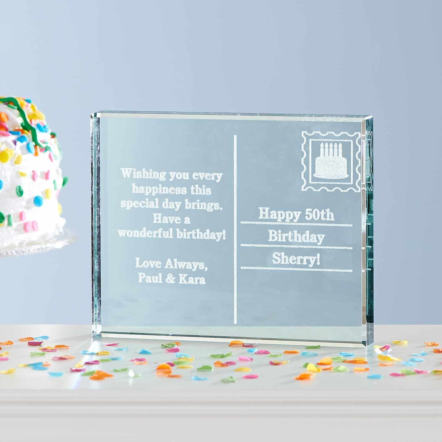 75th Birthday Postcard Glass Block - Personalized