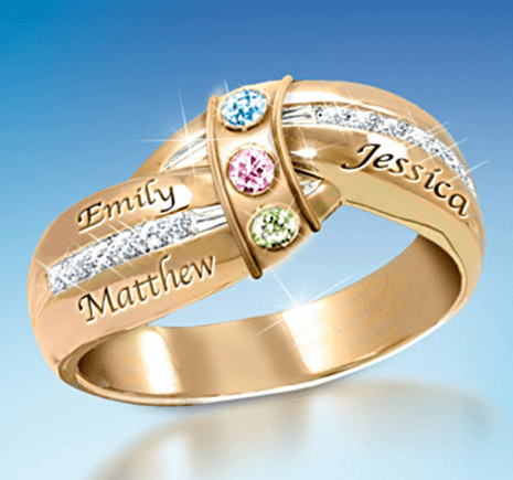 75th Birthday Gift Idea for Mom - Engraved Family Ring