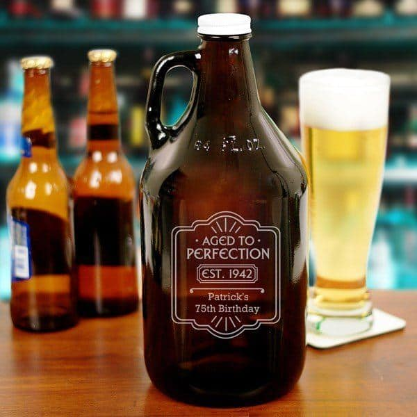 Personalized 75th Birthday Beer Growler - a fun, thoughtful and unique gift for any man who's celebrating his 75th birthday!