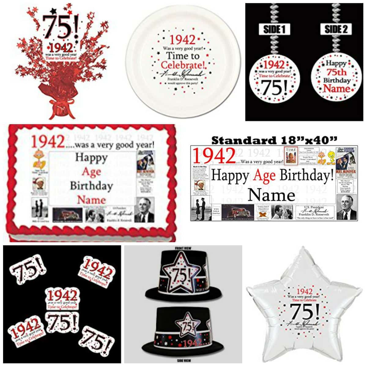 1942 was a very good year 75th birthday party theme for 75th birthday decoration ideas