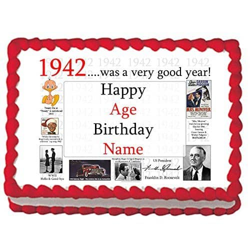 Personalized 1942 Was a Very Good Year - personalized cake edible image is an easy way to create a stunning 75th birthday cake!