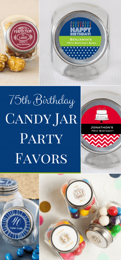 75th Birthday Party Favors - Adorable mini candy jars are a sweet ending to a memorable celebration! Personalize the label and then fill the little jars with cute treats.