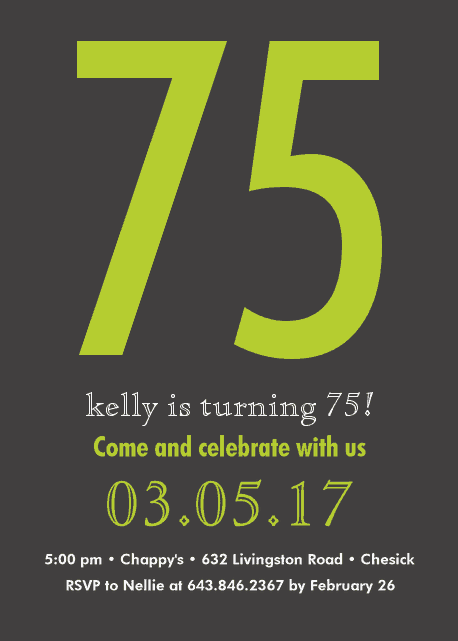 Personalized 75th Birthday Party Invite