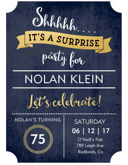 Colorful 75th Birthday Surprise Party Invites Personalized Invitations