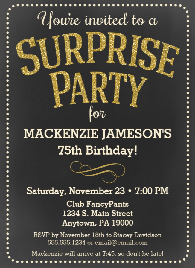 75th Birthday Surprise Invites Chalkboard Party Invitation Man Or Woman
