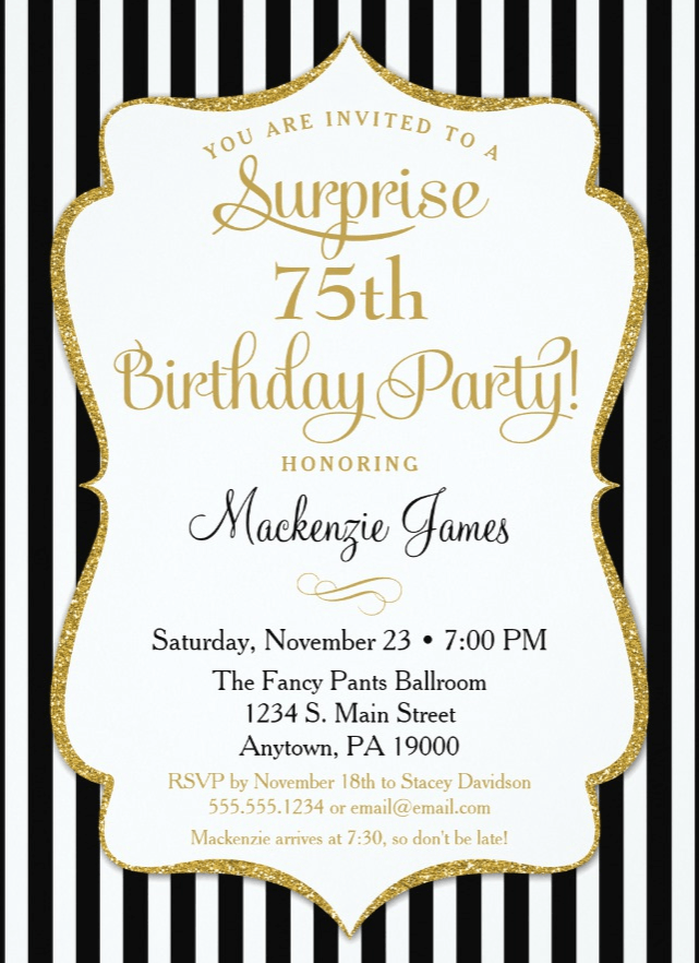 Surprise 75th Birthday Watercolor Floral Heart Card Party Invitation Black Gold Elegant Adult