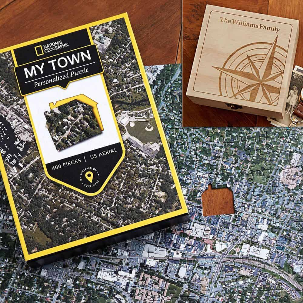 "Unique 75th Birthday Gifts: ""My Town"" personalized jigsaw puzzle is a fabulous gift idea for the man or woman who has everything!"