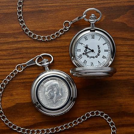 Looking for an impressive 75th birthday gift for the man who has everything? Commemorate his special birthday with a personalized pocket watch that features a genuine half dollar coin from the year he was born!