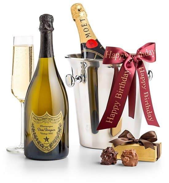 75th Birthday Champagne and Chocolate Gift Basket - Impress someone turning 75 with this elegant gift basket. A memorable treat for a milestone birthday!