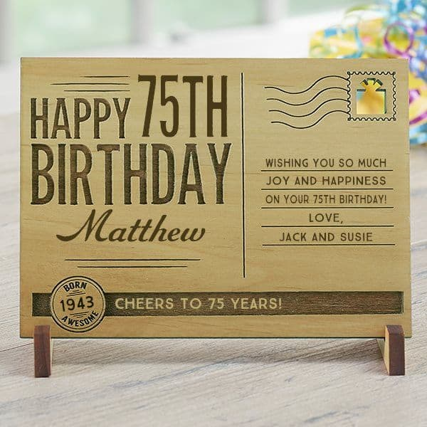 75th Birthday Gifts Under $25 - how fun is this personalized wooden 75th birthday postcard? Perfect inexpensive gift for anyone turning 75!