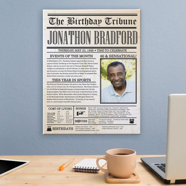 Milestone Birthday Gift Ideas - Love this personalized canvas that features the headline news and events from the day you were born!