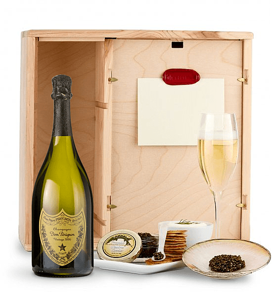 Ultimate Champagne & Caviar Gift basket - Impress someone special with this decadent champagne and caviar experience. Choose from the world's finest champagnes...click for details.