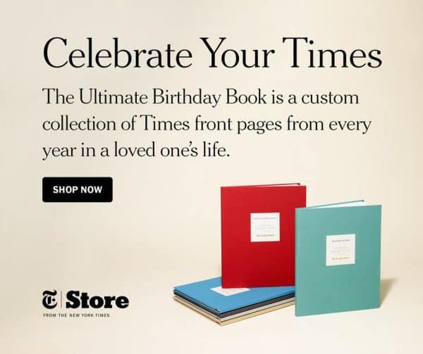 "Looking for a unique gift for a milestone birthday? The Ultimate Birthday Book features every New York Times birthday front page from the recipient's entire life! The perfect ""day you were born"" gift for anyone celebrating a milestone birthday."