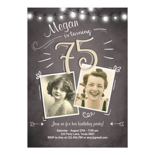 Birthday Invitations with Pictures - How cute are these vintage-style invitations with 2 pictures? Fun and clever invitations for any milestone birthday party!