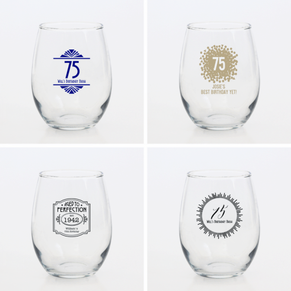 75th Birthday Party Favors for Adults - Impress your guests with elegant, personalized wine glasses. Great birthday party favors that they can enjoy using long after the event is over!