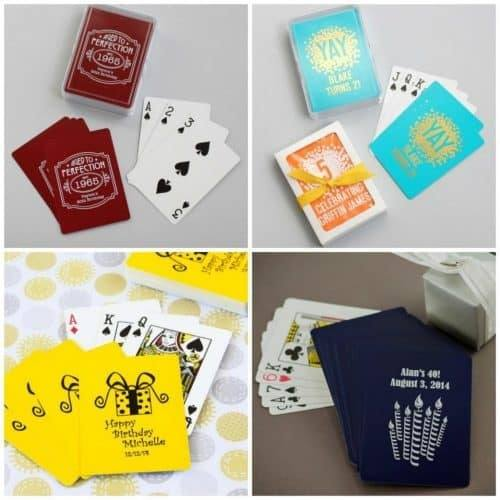 Looking for fun 75th birthday party favors? Delight your guests with adorable personalized playing cards!