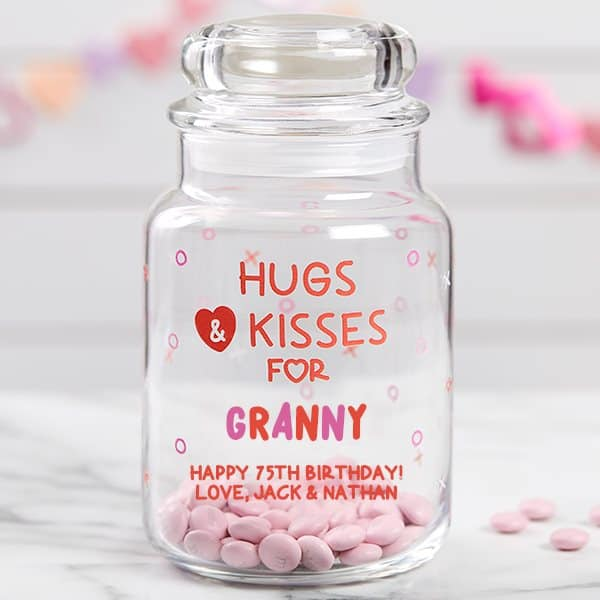 75th Birthday Gift Ideas - Give Grandma or another lady who is turning 75 a sweet treat for their birthday! Adorable personalized candy jar is a fun and inexpensive 75th birthday gift.