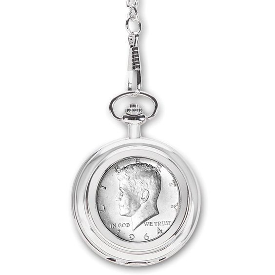 Unique 75th birthday gift ideas for men - Impress Dad, Grandpa or another special man who is turning 75 with a personalized pocket watch that features a half dollar from the year he was born!