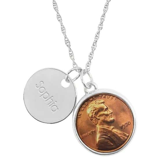 75th Birthday Necklace - Impress Mom, Grandma, or another special lady on her 75th birthday with this gorgeous personalized necklace that features a penny from the year she was born.