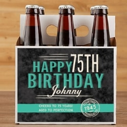 Personalized 75th Birthday Beer Carrier or Bottle Labels