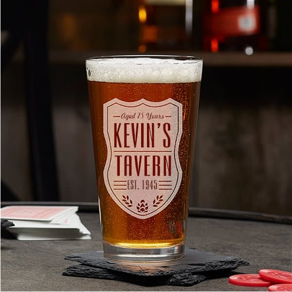 Personalized beer pint glass is a wonderful milestone birthday gift for any beer lover!