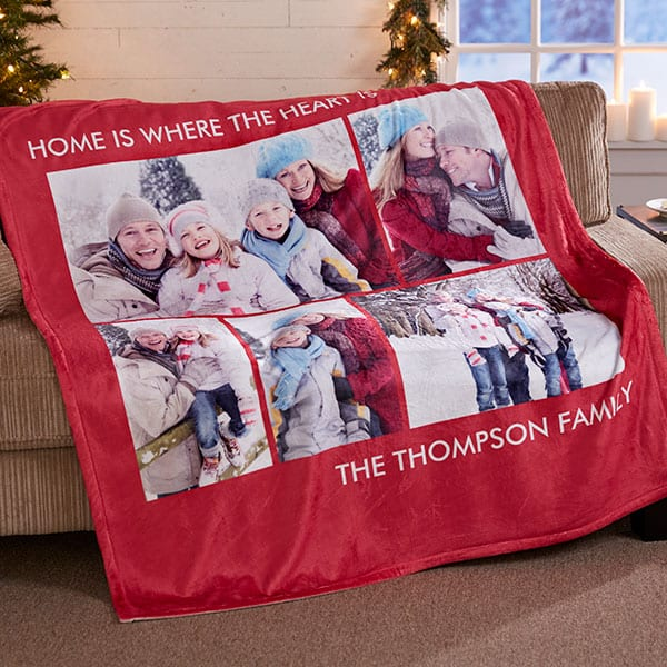 Personalized Blanket with up to 6 Photos - Choice of Colors