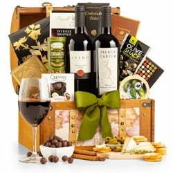 75th Birthday Wine Gift Basket for Dad with Personalized Ribbon