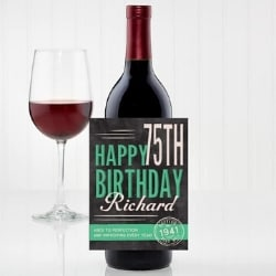Personalized 75th Birthday Peel and Stick Waterproof Wine Bottle Label