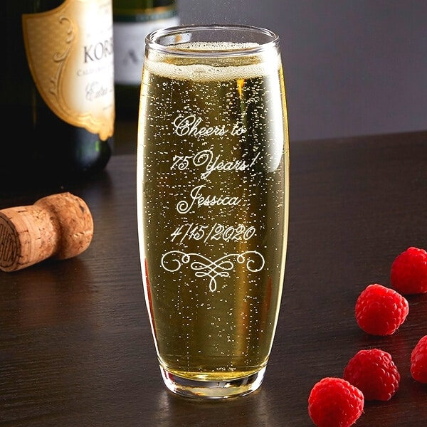 Personalized champagne glass is a wonderful birthday gift or party favor for any milestone birthday!