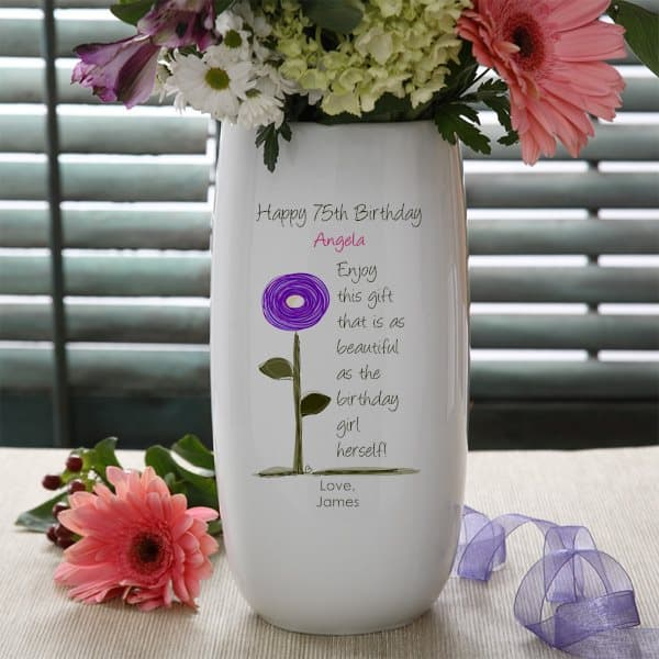 75th Birthday Flowers - Send Mom, Grandma or another special lady who is celebrating their 75th birthday a personalized flower vase!