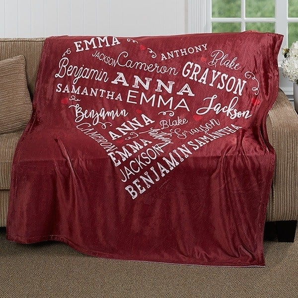 Personalized 75th Birthday Gifts for Women - What woman wouldn't love this adorable heart of love blanket that features her family members names?