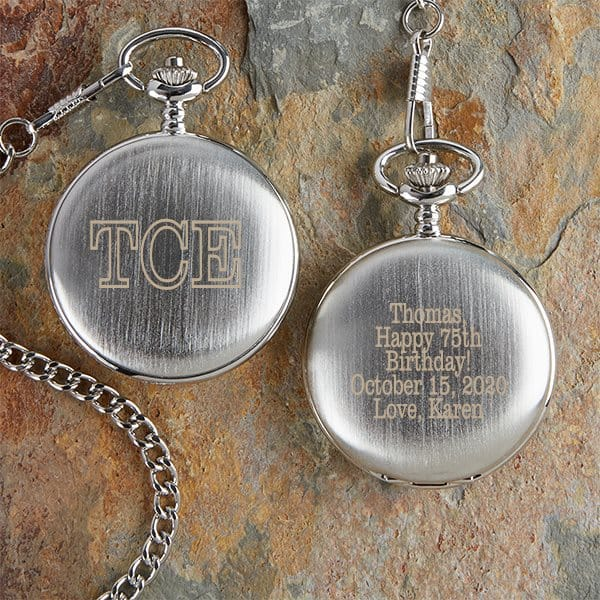 Personalized pocket watch is an elegant (and affordable) milestone birthday gift that's perfect for any man.
