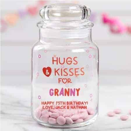 Colorful personalized candy jar is a sweet treat for any woman!